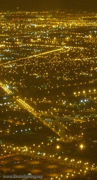 Chicagoland at night from the air.