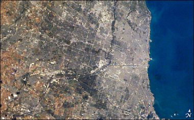 Chicagoland from space, daytime