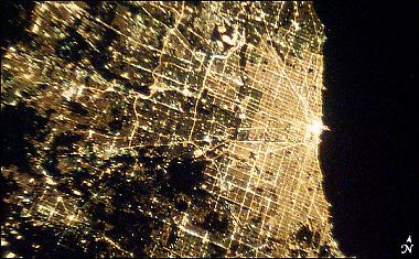 Chicagoland from space at night