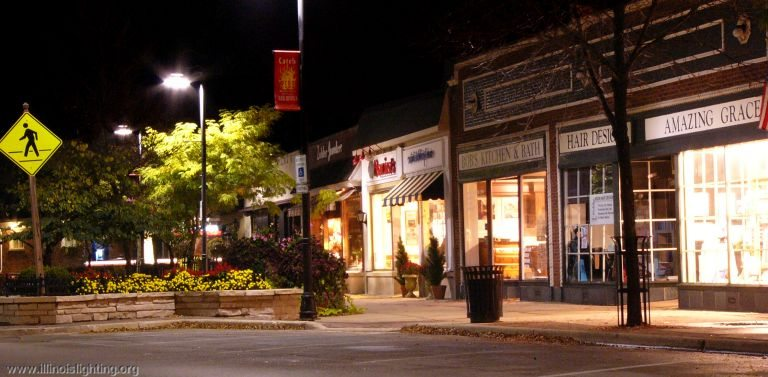 Downtown Clarendon Hills, Illinois' lighting focuses down where it is needed.