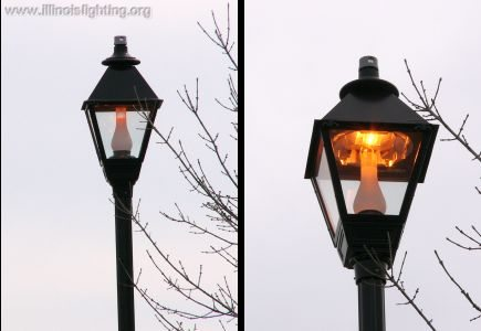Oil lamp replica features recessed light for reduced scatter.